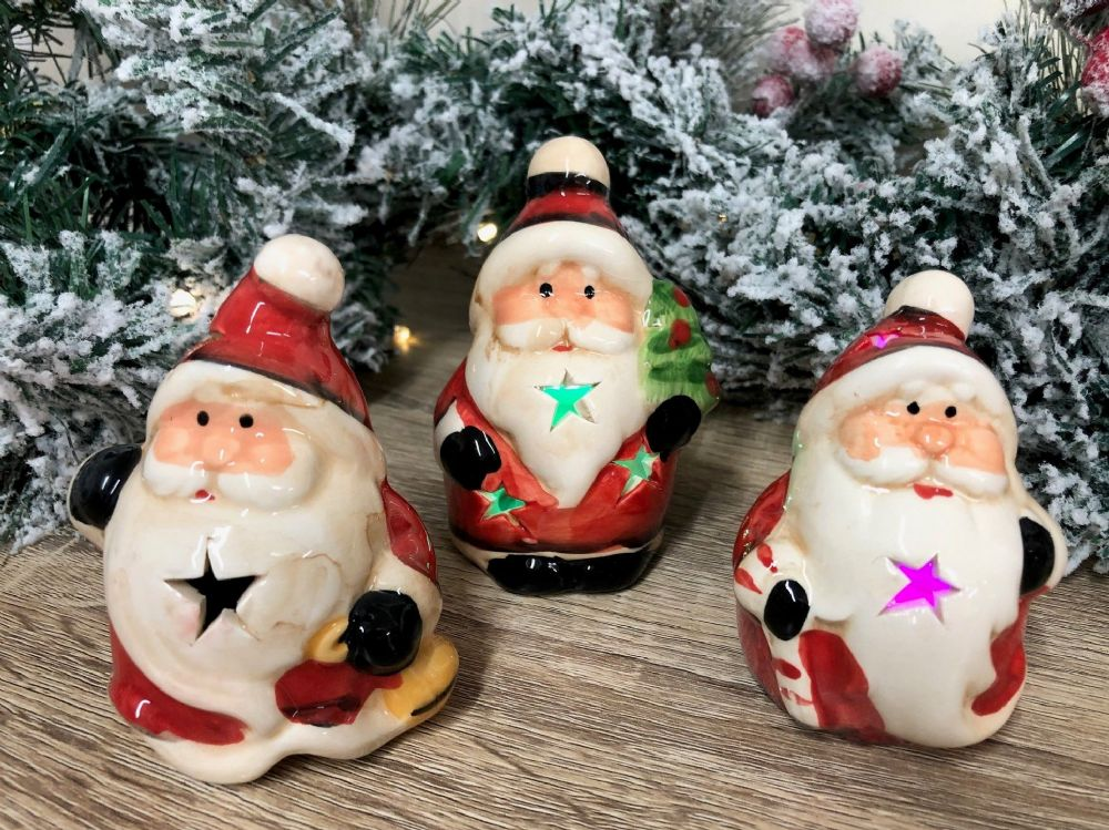 Set of 3 Small Santa Ornament LED Flashing Ornament